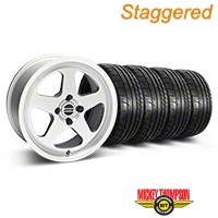 Staggered Silver SC Style Wheel & Mickey Thompson Tire Kit- 17x8/9 (87-93; Excludes 93 Cobra) - AmericanMuscle Wheels KIT||10091||10092||79531||79532