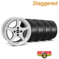Staggered 1995 Cobra R Silver Wheel & Mickey Thompson Tire Kit - 17x8/9 (87-93; Excludes 93 Cobra) - American Muscle Wheels KIT||79532||79531||28314||28377||mb1