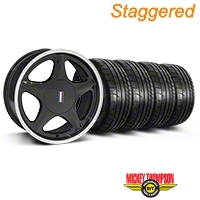 Staggered Black w/Machined Lip Pony Style Wheel & Mickey Thompson Tire Kit- 17x8/9 (87-93; Excludes 93 Cobra) - AmericanMuscle Wheels KIT||79531||79532||99377||99380
