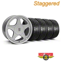 Staggered Silver w/Machined Lip Pony Style Wheel & Mickey Thompson Tire Kit- 17x8/9 (87-93; Excludes 93 Cobra) - AmericanMuscle Wheels KIT||79531||79532||99378||99381