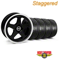 Staggered Black SC Style Wheel & Mickey Thompson Tire Kit- 17x8/10 (87-93; Excludes 93 Cobra) - AmericanMuscle Wheels KIT||79531||79532||10090||28367