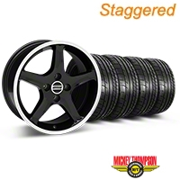 Staggered 1995 Cobra R Black w/ Machined Lip Wheel & Mickey Thompson Tire Kit - 17x8/10 (87-93; Excludes 93 Cobra) - American Muscle Wheels 28310||28313||79531||79532||KIT