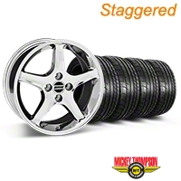 Staggered 1995 Cobra R Style Chrome Wheel & Mickey Thompson Tire Kit - 17x8/10 (87-93; Excludes 93 Cobra) - American Muscle Wheels 28309||28312||79531||79532||KIT