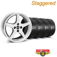 Staggered 1995 Cobra R Silver Wheel & Mickey Thompson Tire Kit - 17x8/10 (87-93; Excludes 93 Cobra) - American Muscle Wheels 28311||28314||79531||79532||KIT