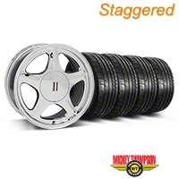 Staggered Chrome Pony Style Wheel & Mickey Thompson Tire Kit - 17x8/10 (87-93; Excludes 93 Cobra) - AmericanMuscle Wheels KIT||79531||79532||99379||99385