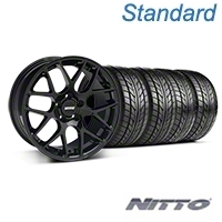 Black AMR Style Wheel & NITTO Tire Kit - 18x8 (05-14 All) - AmericanMuscle Wheels KIT||33781||76031