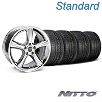 Chrome 2010 GT Premium Mustang Wheel & NITTO INVO Tire Kit - 18x9 (05-14) - AmericanMuscle Wheels KIT||28211||79522