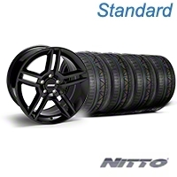 Black 2010 GT500 Mustang Wheel & NITTO INVO Tire Kit - 18x9 (05-14 All) - AmericanMuscle Wheels KIT||28219||79522