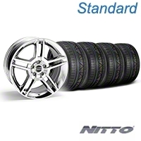 Chrome 2010 GT500 Style Mustang Wheel & NITTO INVO Tire Kit - 18x9 (05-14 All) - AmericanMuscle Wheels KIT||28220||79522