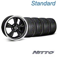 Black Deep Dish Bullitt Mustang Wheel & NITTO INVO Tire Kit - 18x9 (05-14 All, Excluding GT500) - AmericanMuscle Wheels KIT||28264||79522
