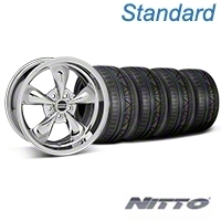 Chrome Bullitt Mustang Wheel & NITTO INVO Tire Kit - 18x9 (05-14 All, Excluding GT500) - AmericanMuscle Wheels KIT||28265||79522