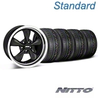 Matte Black Bullitt Deep Dish Mustang Wheel & NITTO INVO Tire Kit - 18x9 (05-14 GT, V6) - AmericanMuscle Wheels KIT||28303||79522