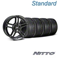 Matte Black 2010 Style GT500 Wheel & NITTO INVO Tire Kit - 18x9 (05-14 All) - AmericanMuscle Wheels KIT||99268||79522