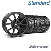 Matte Black FR500 Wheel & NITTO Tire Kit - 18x9 (05-14 All) - AmericanMuscle Wheels KIT||28473||76009