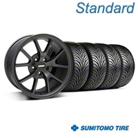 Matte Black FR500 Wheel & Sumitomo Tire Kit - 18x9 (05-14 All) - AmericanMuscle Wheels KIT||28473||63008