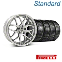 Silver AMR Style Wheel & Pirelli Tire Kit - 19x8.5 (05-14 All) - AmericanMuscle Wheels KIT||33803||63101