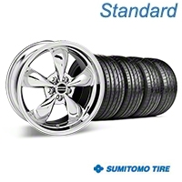 Chrome Deep Dish Bullitt Mustang Wheel & Sumitomo Tire Kit - 19x8.5 (05-14 GT, V6) - AmericanMuscle Wheels KIT||28249||63036