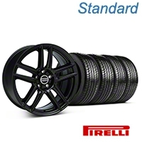Laguna Seca Style Black Wheel & Pirelli Tire Kit - 19x9 (05-14 All) - American Muscle Wheels 63101||99222||KIT