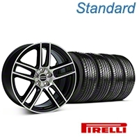 Black Machined Boss Laguna Style Wheel & Pirelli Tire Kit - 19x9 (05-14 All) - AmericanMuscle Wheels KIT||63101||99224