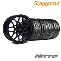 Staggered Gloss Black 2013 GT500 Style Wheel & NITTO Tire Kit - 18x9/10 (05-14 All)