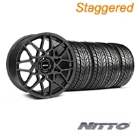 Staggered Charcoal 2013 GT500 Style Wheel & NITTO Tire Kit - 18x9/10 (05-14 All)