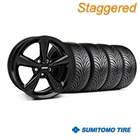 Staggered 2010 OE Style Black Wheel & Sumitomo Tire Kit - 18x8/10 (05-14) - American Muscle Wheels 28253||28256||63008||63009||KIT