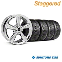 Staggered Chrome 2010 OE Style Wheel & Sumitomo Tire Kit - 18x8/10 (05-14) - AmericanMuscle Wheels KIT||28254||28257||63008||63009