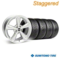 Staggered Silver 2010 OE Style Wheel & Sumitomo Tire Kit - 18x8/10 (05-14) - AmericanMuscle Wheels KIT||28255||28258||63008||63009