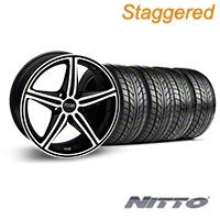 Staggered Black Machined Foose Speed Wheel & NITTO Tire Kit - 18x8/9.5 (05-14 All, Excluding GT500) - Foose KIT||32807||32808||76009||76010