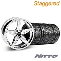 Staggered Chrome Foose Speed Wheel & NITTO Tire Kit - 18x8/9.5 (05-14 All, Excluding GT500) - Foose KIT||32809||32810||76009||76010