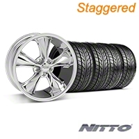 Staggered Chrome Foose Legend Wheel & NITTO Tire Kit - 18x8.5/9.5 (05-09 GT, V6) - Foose KIT||32824||32825||76009||76010