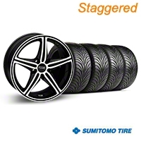 Staggered Black Machined Foose Speed Wheel & Sumitomo Tire Kit - 18x8/9.5 (05-14 All, Excluding GT500) - Foose KIT||32807||32808||63008||63009