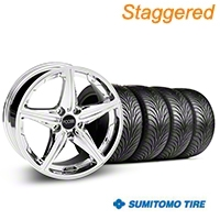 Staggered Chrome Foose Speed Wheel & Sumitomo Tire Kit - 18x8/9.5 (05-14 All, Excluding GT500) - Foose KIT||32809||32810||63008||63009