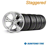 Staggered Chrome Foose Legend Wheel & Sumitomo Tire Kit - 18x8.5/9.5 (05-09 GT, V6) - Foose KIT||32824||32825||63008||63009