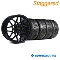 Staggered Gloss Black 2013 GT500 Style Wheel & Sumitomo Tire Kit - 18x9/10 (05-14 All)