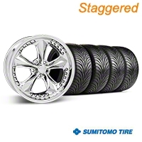Staggered Chrome Foose Nitrous Wheel & Sumitomo Tire Kit - 18x9/10 (05-14 GT, V6) - Foose KIT||32815||32829||63008||63009