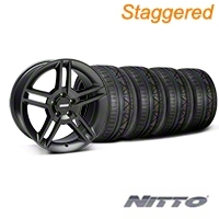 Staggered Matte Black 2010 Style GT500 Wheel & NITTO INVO Tire Kit - 18x9/10 (05-14 All) - AmericanMuscle Wheels KIT||99268||99269||79522||79523