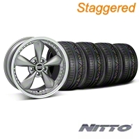 Staggered Bullitt Motorsport Anthracite Wheel & NITTO INVO Tire Kit - 18x9/10 (05-14 GT, V6) - American Muscle Wheels 10118||10120||79522||79523||KIT