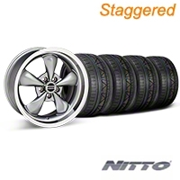 Staggered Anthracite Deep Dish Bullitt Mustang Wheel & NITTO INVO Tire Kit - 18x9/10 (05-14 All, Excluding GT500) - AmericanMuscle Wheels KIT||28322||28324||79522||79523