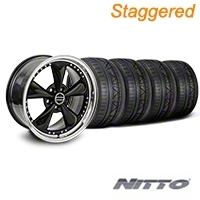 Staggered Bullitt Motorsport Black Wheel & NITTO INVO Tire Kit - 18x9/10 (05-14 GT, V6) - American Muscle Wheels 10107||10108||79522||79523||KIT