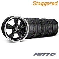 Staggered Black Deep Dish Bullitt Mustang Wheel & NITTO INVO Tire Kit - 18x9/10 (05-14 All, Excluding GT500) - AmericanMuscle Wheels KIT||28264||28267||79522||79523