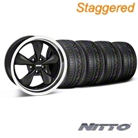Staggered Matte Black Bullitt Deep Dish Mustang Wheel & NITTO INVO Tire Kit - 18x9/10 (05-14 GT, V6) - AmericanMuscle Wheels KIT||28303||28305||79522||79523