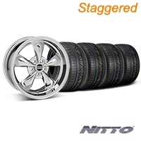 Staggered Chrome Deep Dish Bullitt Mustang Wheel & NITTO INVO Tire Kit - 18x9/10 (05-14 GT, V6) - AmericanMuscle Wheels KIT||28265||28268||79522||79523
