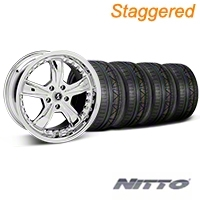 Staggered Chrome Shelby Razor Mustang Wheel & NITTO INVO Tire Kit - 18x9/10 (05-14 GT, V6) - Shelby KIT||27226||27228||79522||79523