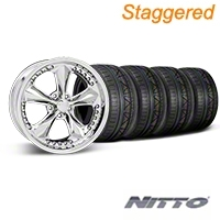 Foose Staggered Nitrous Chrome Wheel & NITTO INVO Tire Kit - 18x9/10 (05-14 GT, V6) - Foose 32815||32829||79522||79523||KIT