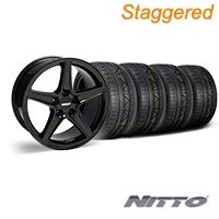 Staggered Saleen Black Wheel & NITTO INVO Tire Kit - 18x9/10 (05-14 GT, V6) - American Muscle Wheels 28193||28252||79522||79523||KIT