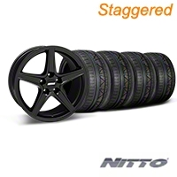 Staggered Matte Black Saleen Mustang Wheel & NITTO INVO Tire Kit - 18x9/10 (05-14 GT, V6) - AmericanMuscle Wheels KIT||28306||28308||79522||79523
