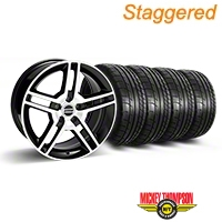 Staggered 2010 GT500 Black Machined Wheel & Mickey Thompson Tire Kit - 18x9/10 (05-14 All) - American Muscle Wheels 28221||28227||79537||79538||KIT