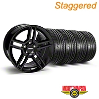 Staggered Black 2010 GT500 Style Mustang Wheel & Mickey Thompson Tire Kit - 18x9/10 (05-14 All) - AmericanMuscle Wheels KIT||28219||28225||79537||79538