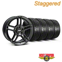 Staggered 2010 GT500 Matte Black Wheel & Mickey Thompson Tire Kit - 18x9/10 (05-14 All) - American Muscle Wheels 79537||79538||99268||99269||KIT